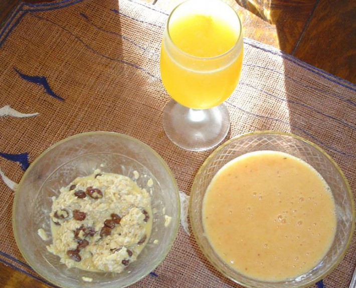 Typical Gerson Therapy Breakfast - Oatmeal and Orange Juice (only one glass of citrus juice allowed per day)