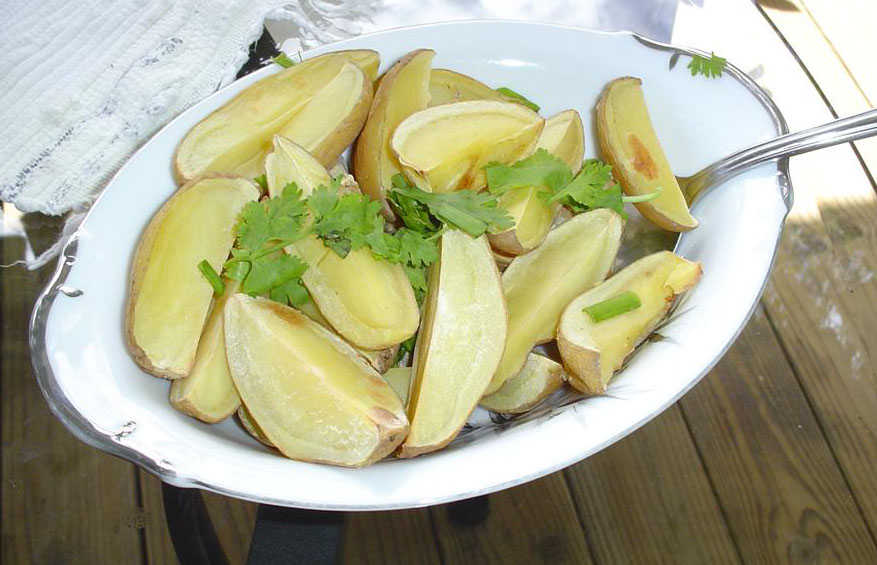 Potatoes should be thoroughly washed, but not scraped or peeled.