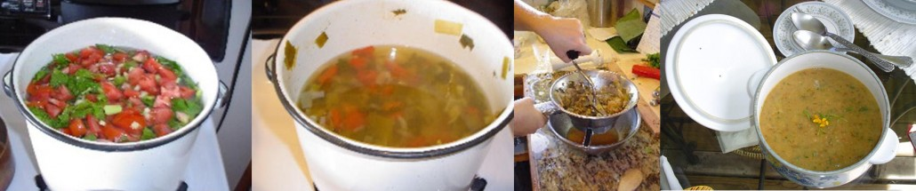 Stages of preparing the Hippocrates soup. Passing the vegetables through a food mill helps with digestion.