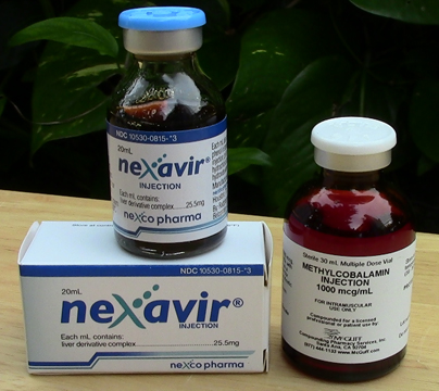 Liver Extract and Vitamin B 12 (methylcobalamin) are drawn up together in one syringe and injected daily.
